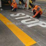 """ตีเส้นจราจร """"STOP"""" บริษัท โตโยต้า มอเตอร์ ประเทศไทย จํากัด โรงงานแบริ่ง"""