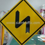 Double bend to left and to right warning sign export to Yangon Myanmar