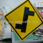 Left turn first warning road sign import from Thailand