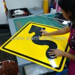 Winding road warning sign export to Yangon Myanmar