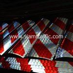 สติ๊กเกอร์ 3m สะท้อนแสง ลายเฉียงสีขาว-แดง