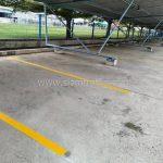 ตีเส้นที่จอดรถ ที่บริษัท ยูนิลีเวอร์ ไทย โฮลดิ้งส์ จำกัด จังหวัดฉะเชิงเทรา