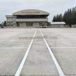 ตีเส้นช่องจอดรถยนต์ 386 คัน โรงเรียนมาเรียลัย ถนนประชาพัฒนา เขตลาดกระบัง