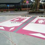 ตีเส้นจราจร ที่จอดรถสำหรับผู้หญิง Lady parking ที่ปั๊ม ปตท. จังหวัดระยอง