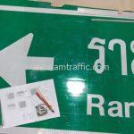 ป้ายจราจร รามคำแหง 60 โครงการก่อสร้างถนนศรีนครินทร์ - ร่มเกล้า ช่วงที่ 2