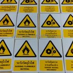 ป้ายระวังอันตรายจากเครื่องจักร และป้ายระวังวัตถุไวไฟ ขนาดป้าย 18 x 25 ซม. บริษัท เซ็นทรัลพัฒนา จำกัด (มหาชน)