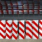 ป้ายในงานก่อสร้าง ป้ายบั้งลายเฉียง ขาวสลับแดง ขนาด 15 x 60 เซนติเมตร สายทางรอบเกาะสมุย